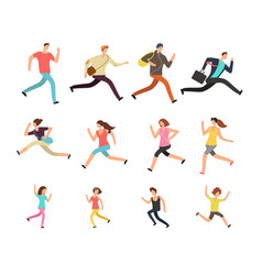 various running people hurrying active male vector image