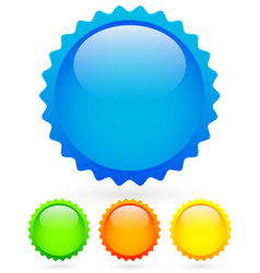 Vibrant bright badges in 4 colors with highlight vector