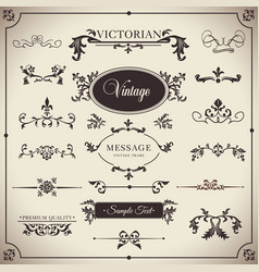 Vintage set floral elements for design of vector