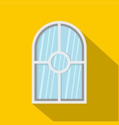 White arched window icon flat style vector