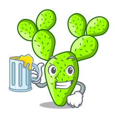 With juice beautiful opuntia cactus in the garden vector