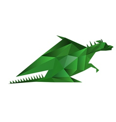 abstract origami green dragon isolated on white vector image vector image