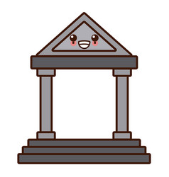 antique greek building cute kawaii cartoon vector image vector image