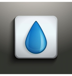 aqua button with water drop vector image vector image