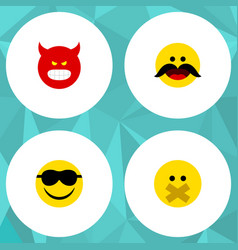 Flat icon gesture set of pouting hush cheerful vector