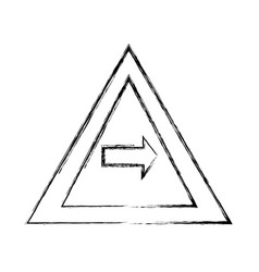 grunge triangle warning notices with turn right vector image
