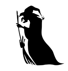 Cute Witch Riding A Broom vector image vector image