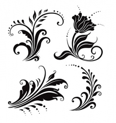 floral elements set vector image vector image