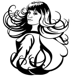 girl and hair vector image vector image