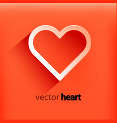 red heart paper sticker with shadow vector image vector image