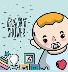Baby shower invitation to birth of a boy vector
