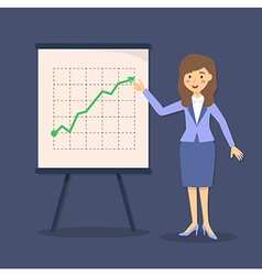 Blue Businesswoman Presentation Growing Up vector image