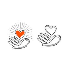 charity life love health logo heart in hand vector image