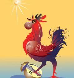 cock with alarm clock vector image vector image