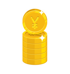 column gold chinese yuan or japanese yen isolated vector image