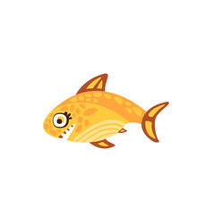 cute yellow fish sea creature hand drawn vector image vector image