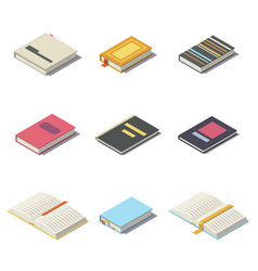 isometric books with shadows vector image vector image