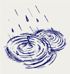 Rain drops rippling in puddle vector image vector image