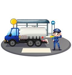 A policeman with a vehicle at the road vector image vector image