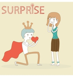 Doodle Prince Boy Gives His Heart to Girl on vector image vector image