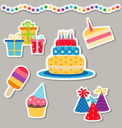 happy birthday icons set happy birthday icons set vector image