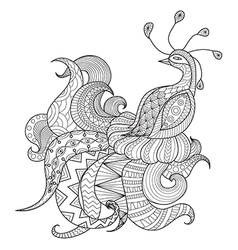 Peacock coloring page vector image vector image