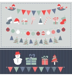 Retro Christmas elements set vector image vector image