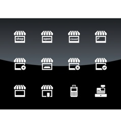 Shop icons on black background vector image