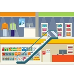 Shopping Center Storefronts Design Flat vector image