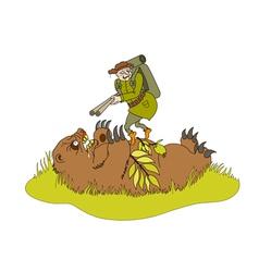 The bear doing an ambush on hunter vector