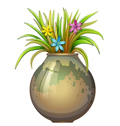 A big flowervase with flowering plants vector