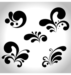 abstract black design elements isolated on white vector image