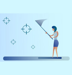 Abstract business woman catch targets vector