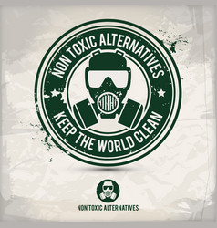 Alternative non toxic alternatives stamp vector