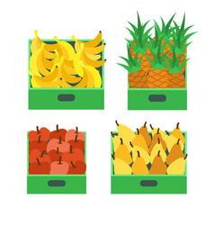 banana tropical fruit and pineapple set vector image