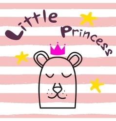 Bear princess t-shirt design for kids and babies vector