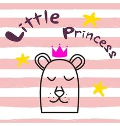 Bear princess t-shirt design for kids and babies vector image