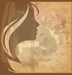 beautiful girl face on old background vector image