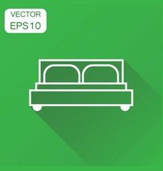 bed icon business concept bed pictogram on green vector image
