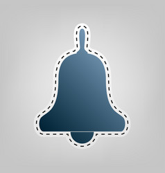 Bell alarm hand bell sign blue icon with vector