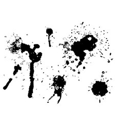 black ink blot set vector image
