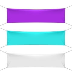 Blank color textile horizontal banners with copy vector image