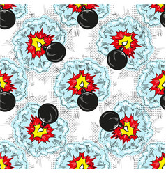 bomb explosion pop art comic seamless pattern vector image