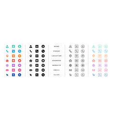 business card contact information icons set vector image