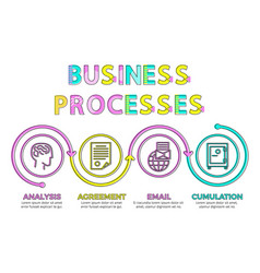 business processes chart from various icons set vector image