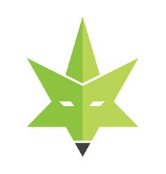 Cannabis wild fox creative logo vector