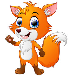 Cartoon fox waving hand vector