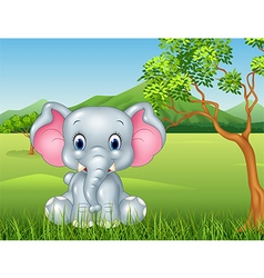 Cartoon funny baby elephant sitting in the jungle vector