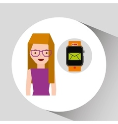 Cartoon girl smart watch app email vector