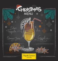 chalk drawing christmas cocktail menu design vector image